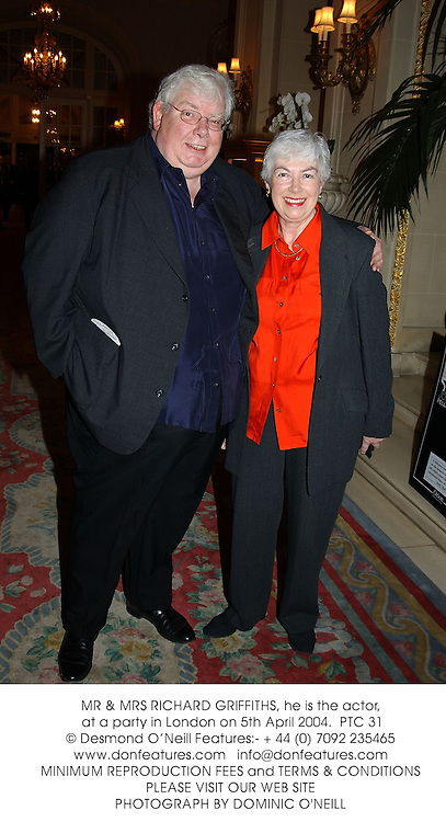 MR & MRS RICHARD GRIFFITHS, he is the actor, at a party in London on 5th April 2004.PTC 31