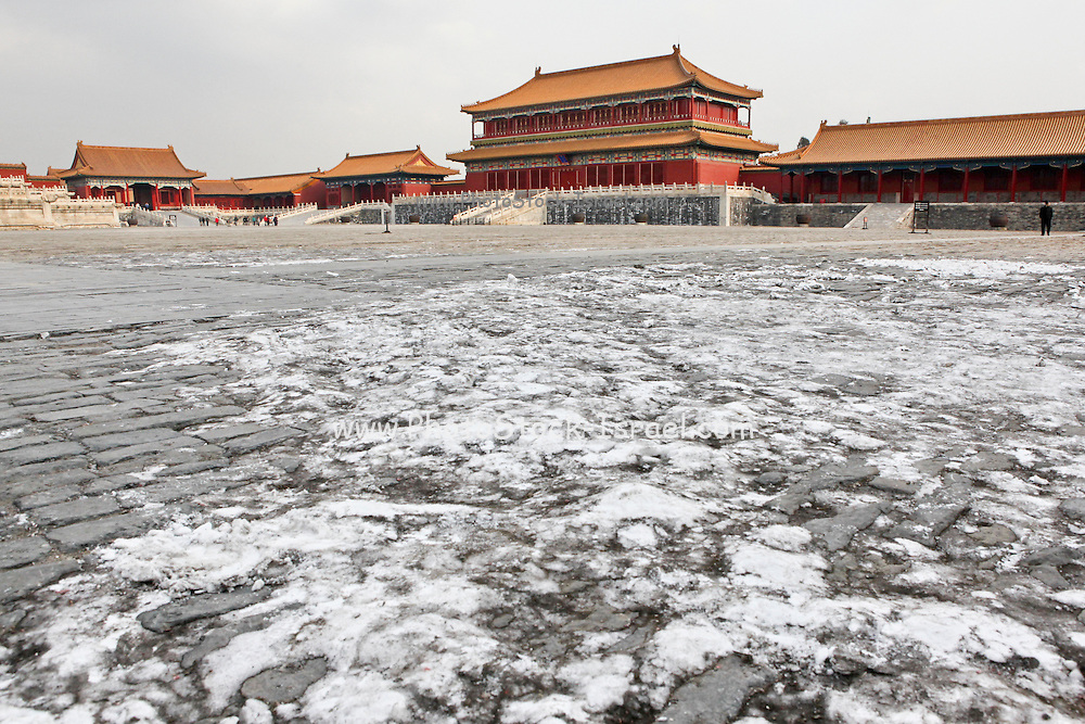 China, Beijing, The Imperial Palace in the Forbidden City with snow