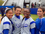 Hampton University Lady Pirates posing prior to their doubleheader split against Morgan State at the Lady Pirates Softball Complex on the campus of Hampton University in Hampton, Virginia.  (Photo by Mark W. Sutton)