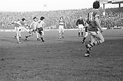 Players all group around as the ball falls from the sky during the All Ireland Senior Gaelic Football Semi Final, Dublin v Kerry in Croke Park on the 23rd of January 1977. Dublin 3-12 Kerry 1-13.