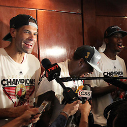 Jun 21, 2012; Miami, FL, USA; Miami Heat small forward Shane Battier talks to the media in the locker room after winning the 2012 NBA championship at the American Airlines Arena. Miami won 121-106. Mandatory Credit: Derick E. Hingle-US PRESSWIRE