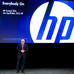 HP CEO and president Leo Apotheker delivers his keynote address at the HP Summit in San Francisco.  Apotheker discussed his vision and strategy for the future of the high tech company..