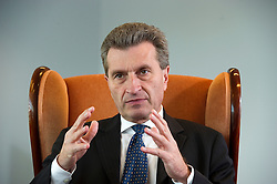 Günther Oettinger, European Commissioner of Energy, speaks during an interview in his office, at the EU Commission headquarters, on Tuesday, June 29, 2010, in Brussels, Belgium. (Photo © Jock Fistick)