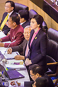 "09 JANUARY 2105 - BANGKOK, THAILAND:  YINGLUCK SHINAWATRA, former Prime Minister of Thailand, presents her defense  during her impeachment trial in the National Legislative Assembly. Thailand's military-appointed National Legislative Assembly began impeachment hearings Friday against former Prime Minister Yingluck Shinawatra. If she is convicted, she could be forced to stay out of politics for five years. During her defense, Yingluck questioned the necessity of her impeachment, saying, ""I was removed from office, the equivalent of being impeached, three times already, I have no position left to be impeached from."" A decision on her impeachment is expected by the end of January.   PHOTO BY JACK KURTZ"