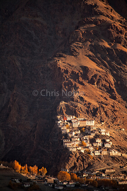 Morning light illuminates Karsha Monastery in the Zanskar Valley, Ladakh India.
