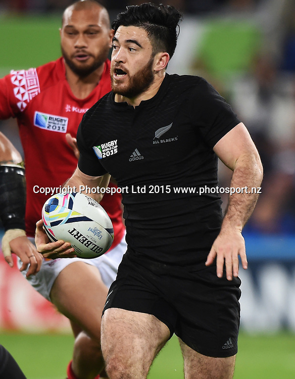 Nehe Milner-Skudder in action during the New Zealand All Blacks v Tonga Rugby World Cup 2015 match. St James' Park in Newcastle. UK. Friday 9 October 2015. Copyright Photo: Andrew Cornaga / www.Photosport.nz