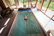 Former Olympic swimmer Adolf Keifer, the oldest living U.S. Olympic gold medalist, swims an hour a day in a small exercise pool at his home in northern Illinois. Photographed in 2012.