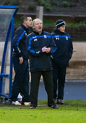 Cowdenbeath's player manager Jimmy Nicholl.<br /> Cowdenbeath 0 v 2 Falkirk, Scottish Championship game today at Central Park, the home ground of Cowdenbeath Football Club.<br /> &copy; Michael Schofield.