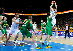 Ksistof Lavrinovic of Lithuania vs Erazem Lorbek of Slovenia during basketball game between National basketball teams of Slovenia and Lithuania at of FIBA Europe Eurobasket Lithuania 2011, on September 15, 2011, in Arena Zalgirio, Kaunas, Lithuania. Lithuania defeated Slovenia 80-77.  (Photo by Vid Ponikvar / Sportida)