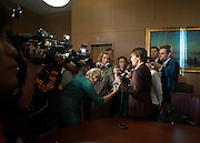 Deb Mell talks with the media prior to being sworn in as an alderman infront of the Chicago City Council Wednesday morning at City Hall. Mell is the first openly gay Alderman in the city's history.<br /> | Michael R. Schmidt~ For Sun-Times Media