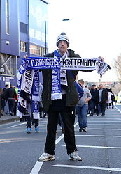 A scarf seller outside Loftus Road - Photo mandatory by-line: Robbie Stephenson/JMP - Mobile: 07966 386802 - 07/03/2015 - SPORT - Football - London - Loftus Road - Queens Park Rangers v Tottenham Hotspur - Barclays Premier League