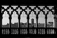 Italy. Venice. the Grand Canal, Grand Canal. view from the bacony, Gothic style , of the CA D ORO palace on the Grand Canal.   Venice - Italy  / le grand canal vue depuis le balcon de style gothique de  la CA D ORO palais , le long du grand canal   Venise - Italie