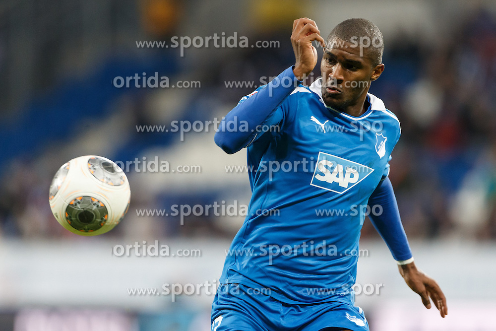09.11.2013, Rhein Neckar Arena, Sinsheim, GER, 1. FBL, TSG 1899 Hoffenheim vs Hertha BSC, 12. Runde, im Bild Anthony Modeste (TSG 1899 Hoffenheim), Freisteller, Aktion /Action // during the German Bundesliga 12th round match between TSG 1899 Hoffenheim and Hertha BSC at the Rhein Neckar Arena in Sinsheim, Germany on 2013/11/09. EXPA Pictures &copy; 2013, PhotoCredit: EXPA/ Eibner-Pressefoto/ Neis<br /> <br /> *****ATTENTION - OUT of GER*****