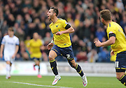 Oxford United defender George Baldock (2) scores and celebrates during the Sky Bet League 2 match between Oxford United and AFC Wimbledon at the Kassam Stadium, Oxford, England on 10 October 2015.