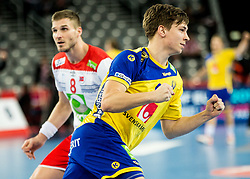 Jerry Tollbring of Sweden reacts during handball match between National teams of Sweden and Norway on Day 7 in Main Round of Men's EHF EURO 2018, on January 24, 2018 in Arena Zagreb, Zagreb, Croatia.  Photo by Vid Ponikvar / Sportida