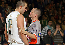 Referee and Marko Milic during semi-final match of Basketball NLB League at Final four tournament between KK Partizan Igokea, Beograd, Serbia and Union Olimpija, Ljubljana, Slovenia, on April 25, 2008, in Arena Tivoli in Ljubljana. Match was won by Partizan 94:90. (Photo by Vid Ponikvar / Sportal Images)