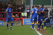 AFC Wimbledon striker Lyle Taylor (33) celebrating after scoring 1-0 during the EFL Sky Bet League 1 match between AFC Wimbledon and Walsall at the Cherry Red Records Stadium, Kingston, England on 25 February 2017. Photo by Matthew Redman.