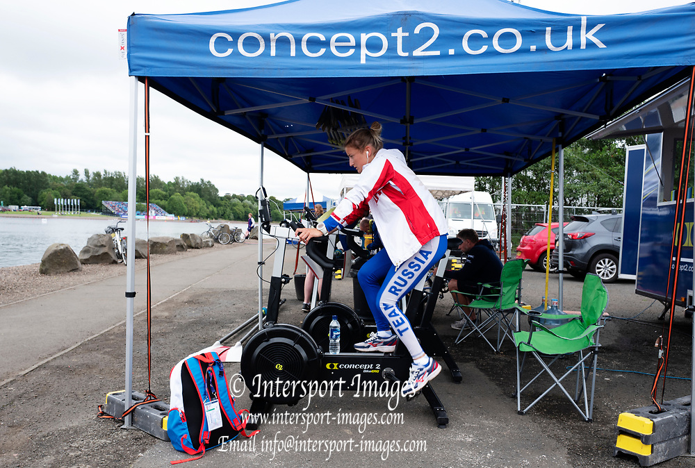 Glasgow, Scotland, Saturday, 4th  August 2018, Russian Federation Athlete, exercisy on an ergo at the Concept II, stand, European Games, Rowing, Strathclyde Park, North Lanarkshire, © Peter SPURRIER/Alamy Live News