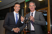 Rab' Geddes presents Cammy Kerr with the Isobel Sneddon trophy for Dundee FC young player of the year -  DSA player of the year dinner at Invercasrse Hotel, Dundee, Photo by David Young<br /> <br /> <br />  - &copy; David Young - www.davidyoungphoto.co.uk - email: davidyoungphoto@gmail.com