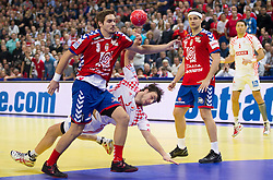 Nikola Manojlovic of Serbia vs Domagoj Duvnjak of Croatia during handball match between Serbia and Croatia in 2nd Semifinal at 10th EHF European Handball Championship Serbia 2012, on January 27, 2012 in Beogradska Arena, Belgrade, Serbia.  (Photo By Vid Ponikvar / Sportida.com)