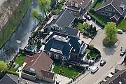Nederland, Noord-Holland, Volendam, 28-04-2010; het huis van Jan Smit (Jantje Smit), de villa in het midden, met zwarte pannen en dakkapel.luchtfoto (toeslag), aerial photo (additional fee required).foto/photo Siebe Swart