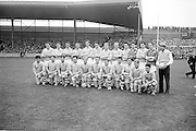 The All Ireland Senior Gaelic football Final 22nd September 1963,  the victorious Dublin Team..Names of identified team members .Back Row Left to right  John (sean) Timmons, W Casey, M Kissane, L. Foley, L Hickey, (10th from left ) P Flynn..Front Row Left to right.D McKane, M Whelan, P Holden, N Fox, D Foley (captain), G Davey, B Mac Donald, S Behan, (10th from left) D Ferguson...Unidentified  team members.Substitutes: F McPhillips, C Kane, P Downey, A Donnelly and E Breslin...22.09.1963  22nd September 1963Dublin.1-9.Galway.0-10..P. Flynn, L. Hickey, L. Foley, W. Casey, D. McKane, P. Holden, M. Kissane, D. Foley (Captain), John Timmons, B. McDonald, Mickie Whelan, G. Davey, S. Behan, D. Ferguson, N. Fox..Sub: P. Downey for P. Holden..D. Foley (Captain).