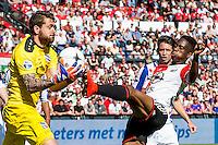 ROTTERDAM - Feyenoord - SC Heerenveen , Stadiond de Kuip , Voetbal , Eredivisie Play-offs Europees voetbal, seizoen 2014/2105 , 24-05-2015 , Feyenoord speler Terence Kongolo (r) trapt nog tegen de bal terwijl SC Heerenveen keeper Kristoffer Nordfeldt (l) hem net vangt