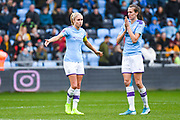 Manchester City Women defender Steph Houghton (captain) (6) and Manchester City Women midfielder Jill Scott (8) chat during the FA Women's Super League match between Manchester City Women and West Ham United Women at the Sport City Academy Stadium, Manchester, United Kingdom on 17 November 2019.