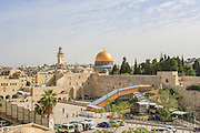 Skyline of Jerusalem with the golden dome of the Temple Mount and the Wailing Wall.