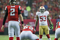 20 January 2013: Linebacker (53) NaVorro Bowman of the San Francisco 49ers lines up opposete (2) Matt Ryan of the Atlanta Falcons during the second half of the 49ers 28-24 victory over the Falcons in the NFC Championship Game at the Georgia Dome in Atlanta, GA.