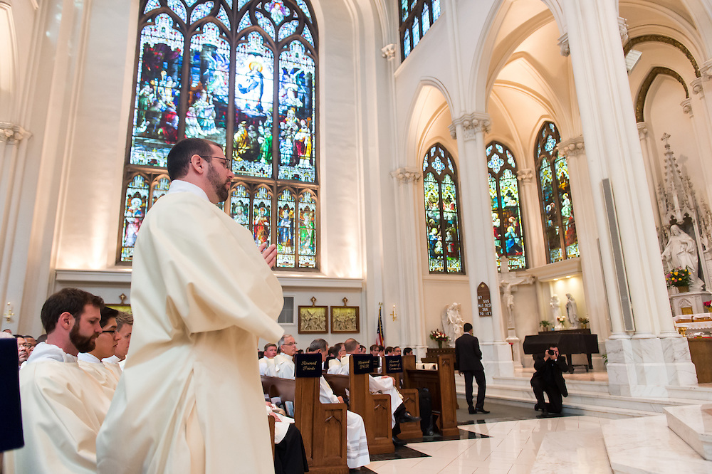 DENVER, CO - MAY 16: The Rev. Gregory Louis Lesher prepares to step forward during his ordination as a priest for the Archdiocese of Denver at the Cathedral Basilica of the Immaculate Conception on May 16, 2015, in Denver, Colorado. (Photo by Daniel Petty/Denver Catholic Register)