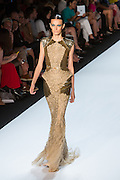 Beaded and sequined cap-sleeved gown. By Monique Lhuillier at Spring 2013 Fall Fashion Week in New York.