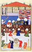 The astronomer Takiuddin at his observatory at Galata, 1581 showing astronomical instruments in use at the time. After an illuminated manuscript