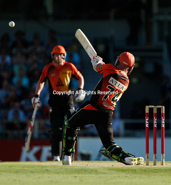 21.01.2012. Perth Australia. Big Bash Cricket.  Herscelle Gibbs hits out in the Semi Final between the Perth Scorchers and Melbourne Stars.