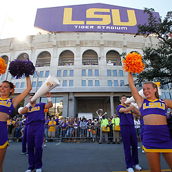 October 1, 2011; Baton Rouge, LA, USA;  The LSU Tigers cheerleaders perform outside prior to kickoff of a game against the Kentucky Wildcats at Tiger Stadium.  Mandatory Credit: Derick E. Hingle-US PRESSWIRE / © Derick E. Hingle 2011
