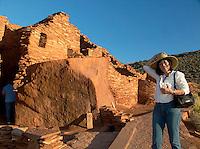Female Tourist at Wupatki Pueblo, Wupatki National Monument, Arizona