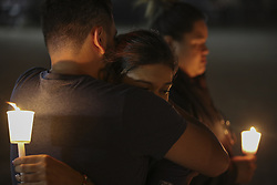 LAS VEGAS, Oct. 3, 2017  People attend a candle light vigil to mourn the victims of a mass shooting in Las Vegas, the United States, on Oct. 2, 2017. At least 59 people were killed and 527 others wounded after a gunman opened fire Sunday on a concert in Las Vegas in the U.S. state of Nevada, the deadliest mass shooting in modern U.S. history.  zy) (Credit Image: © Wang Ying/Xinhua via ZUMA Wire)
