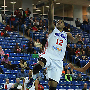 Delaware 87ers Forward Ronald Roberts (12) drives towards the basket in the first half of a NBA D-league regular season basketball game between the Delaware 87ers and the Rio Grande Valley Vipers (Houston Rockets) Saturday, Dec. 27, 2014 at The Bob Carpenter Sports Convocation Center in Newark, DEL