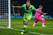 Norwich City forward Jordan Rhodes (11), on loan from Sheffield Wednesday, ce;berates his hatrick during the EFL Cup match between Wycombe Wanderers and Norwich City at Adams Park, High Wycombe, England on 25 September 2018.