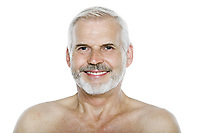 caucasian man portrait smiling cheerful isolated studio on white background