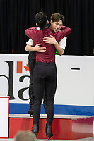 KELOWNA, BC - OCTOBER 26: Men's silver medalist Nam Nguyen of Canada congratulates bronze medalist Keiji Tanaka of Japan during medal ceremonies of Skate Canada International held at Prospera Place on October 26, 2019 in Kelowna, Canada. (Photo by Marissa Baecker/Shoot the Breeze)