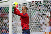 England Goalkeeper Joe Hart in warm up during the Euro 2016 Group B match between Slovakia and England at Stade Geoffroy Guichard, Saint-Etienne, France on 20 June 2016. Photo by Phil Duncan.