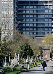 © Licensed to London News Pictures. 22/04/2012. Hammersmith, UK . Charing Cross hospital overlooks directly onto the cemetery. General Views taken today 22 April 2012 of Hammersmith Cemetery. Doctors are battling to save the sight of a senior British diplomat mugged while walking through the cemetery on Friday night (20/04/12). Bermuda's new Governor George Fergusson may lose his vision in his left eye after being attacked by a man in Hammersmith Cemetery, west London, said police. Photo credit : Stephen Simpson/LNP