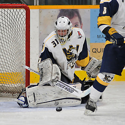 TRENTON, ON - Nov 9: Ontario Junior Hockey League game between Whitby Fury and Trenton Golden Hawks. Tyler Feaver #31 of the Whitby Fury makes the save during second period game action..(Photo by Shawn Muir / OJHL Images)