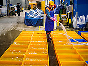 07 JUNE 2018 - SEOUL, SOUTH KOREA:  A worker fills holding tanks with water before the wholesale auctions at the Noryangjin Fish Market. The auctions start about 01.00 AM and last until 05.00 AM. Noryangjin Fish Market is the largest fish market in Seoul and has been in operation since 1927. It opened in the current location in 1971 and was renovated in 2015. The market serves both retail and wholesale customers and has become a tourist attraction in recent years.     PHOTO BY JACK KURTZ
