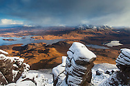 View from Stac Pollaidh towards Cul Mor and Suilven, Coigach, Scotland