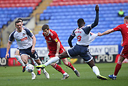 Dimitar Evtimov of Accrington and Bolton Wanderers Aristote Nsiala in action during the EFL Sky Bet League 1 match between Bolton Wanderers and Accrington Stanley at the University of  Bolton Stadium, Bolton, England on 29 February 2020.