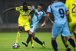 Welle Ndiaye of NK Maribor vs Matija Sirok of ND Gorica during football match between ND Gorica and NK Maribor at NZS Super Cup of Liga Telekom Slovenije 2014/15, on August 13, 2014 in Sportni Park Nova Gorica, Nova Gorica, Slovenia. Photo by Matic Klansek Velej / Sportida.com