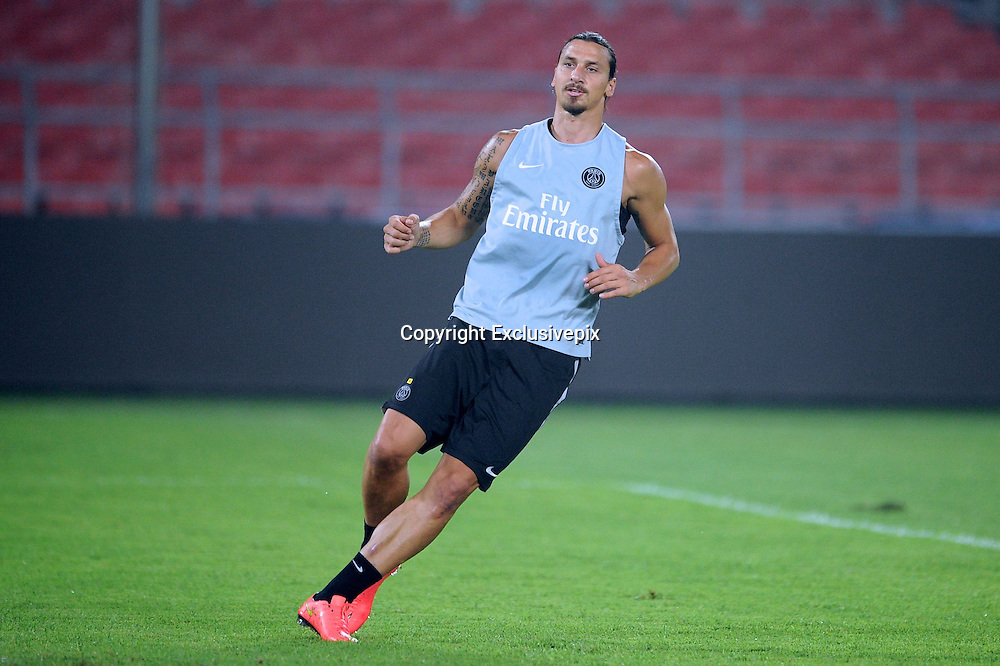 BEIJING, CHINA - AUGUST 01: (CHINA OUT) <br /> <br /> Paris Saint-Germain Training Session<br /> <br />  Zlatan Ibrahimovic of Paris Saint-Germain attends a training session ahead of the French Super Cup football match against Guingamp at the Workers Stadium on August 1, 2014 in Beijing, China. <br /> &copy;Exclusivepix