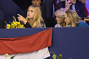 Koning Willem-Alexander en prinses Amalia zijn aanwezig in de RAI tijdens de wereldbeker springen bij Jumping Amsterdam.<br /> <br /> King Willem-Alexander and princess Amalia are present at the RAI during the World Cup jumping at Jumping Amsterdam.<br /> <br /> Op de foto:  Prinses Amalia met prinses Margarita en prinses Irene / King Willem Alexander and his daughter princess Amalia with princess Margarita and princess Irene